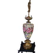 """SOLD RESERVED Art Nouveau Maiden Cloisonne Urn 34"""" Tall"""