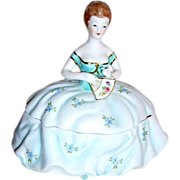 SALE Limoges China Lady Figural Powder Box Vanity Box Signed