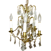 Gorgeous French Crystal Prisms and Brass Chandelier