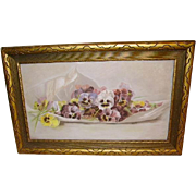 SOLD Early Lovely Pansies Still Life Watercolor Signed in Original Frame