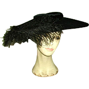 SOLD Vintage Black Velvet Wide Brim Saucer Shape Ladies Hat Plumes
