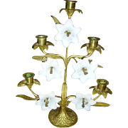 SOLD RESERVED Early French Brass Floral Altar Candelabra White Glass Flowers