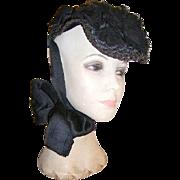 Best Antique Victorian Ladies Mourning Hat 1800's