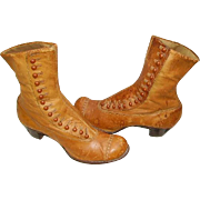 Victorian Edwardian High Top Button Up Leather Boots Shoes Caramel