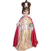 Vintage Infant of Prague Statue Paste Stone Jeweled Crown and Rosary.Glass Eyes