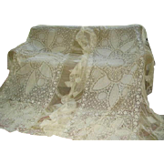 SOLD Exquisite 1920s  Pair French Tambour Net Lace Bedspreads Bed Covers/Pillow Covers