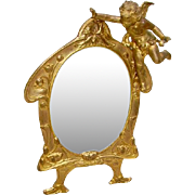 SOLD Early 1900 Cherub Mirror/Picture Frame 24K Gold Plated Signed A.M.W Art Metal Works