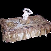 German Half Doll French Passementerie Chocolate Box Boudoir Box