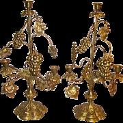 Antique French Brass Altar Candelabra Grapes Wheat Shaft Candelabra