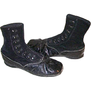 SOLD Victorian Childs Velvet and Leather High Top Button Up Shoes