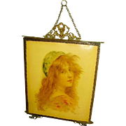 Antique Art Nouveau Maiden Portrait  Celluloid Tri-Fold Mirror Vanity Large