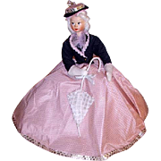 Vintage Roldan-Klumpe Type Doll Lady with Parasol Umbrella