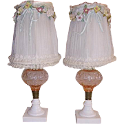 1930s Chiffon French Ribbon Roses Lamp Shades Pink Glass Boudoir Lamps French Net Lace