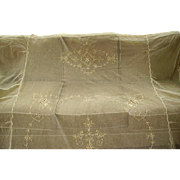 Beautiful Vintage French Net Lace Bedspread Tambour Lace