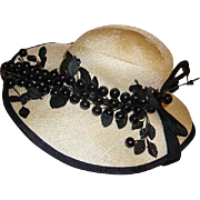 Fabulous Vintage Mr. John Classic Ladies Wide Brim Hat Black Cherries