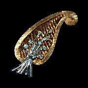 Fine Vintage DIAMOND BROOCH - 14K Gold / Open Work & Diamond Flower Bouquet