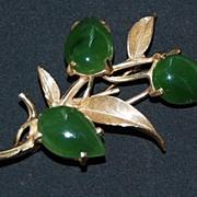 c1950, Signed vintage 14K GOLD & JADE BROOCH - Botanical (Flowers / Leaves)