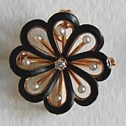 c1890, Krementz Scatter PIN / PENDANT:  Gold, Enamel, Pearls, Diamond