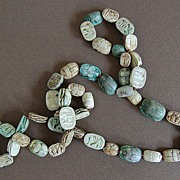 1920's Assembled String of Antique EGYPTIAN SCARABS  (47 carved Scarabs / Very long)