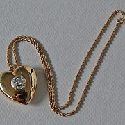 Vintage DIAMOND HEART PENDANT  (Heart Necklace) - Puffy  / 14K Gold / Rope Chain