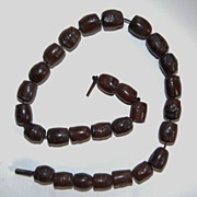 Antique, carved WOODEN BEAD NECKLACE - Oriental Symbols, Animals, Flowers
