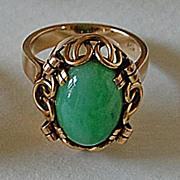 Fine Vintage Green JADE RING - 14K Gold Mounting