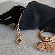 Fine Victorian 14K GOLD WATCH FOB - Original Black Ribbon