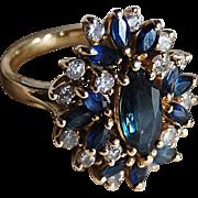 Large vintage Retro SAPPHIRE & DIAMOND RING - 14k Gold  (Festive Sapphire Cluster Ring)