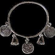 Antique LOVE TOKEN BRACELET - Silver, Coins & Bells (Charm Bracelet)