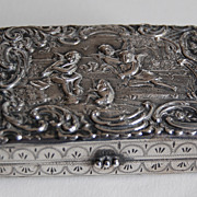 Antique SOLID SILVER BOX - Cupid / Frog / 19th Century / Ornate