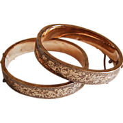 pair wide VICTORIAN BANGLE BRACELETS  -  Ornate Engraved Ivy Designs - 10K Gold