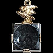 Antique 14K Gold, BLACK ONYX INGLIO Pendant / Charm - 14K Gold Bird  / Profile of Woman