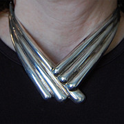 Los Ballesteros - MEXICAN STERLING CHOKER  (signed Vintage Mexican Sterling Necklace)