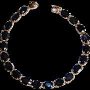 Fine Vintage BLUE SAPPHIRE BRACELET - 10K Gold / 20 Carats (Multi Stone Bracelet)