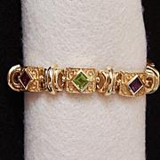 Signed Vintage WIDE GOLD BRACELET - 14k Gold - Tourmaline, Amethyst, Citrine, Sapphire