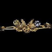 Victorian SCOTTISH THISTLE BROOCH - Citrine & Amethyst - 10k Gold