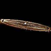 Vintage 14k Gold DIAMOND & PEARL Bar Pin - Open Work Gold Brooch