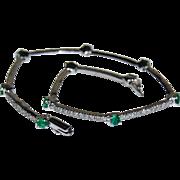 Signed EMERALD & DIAMOND Bracelet - 14k White Gold, Vintage (Tennis Bracelet)