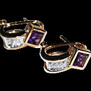 vintage AMETHYST & DIAMOND EARRINGS - 14k yellow & white Gold, CUFF Earrings