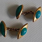 Fine Antique CUFFLINKS / Green ONYX - 14K Gold, English