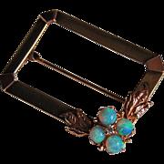 c1945 - Retro 14K GOLD & OPAL BROOCH - Fire Opals & Diamond  (Rectangular)