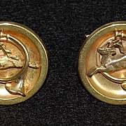 Large Victorian 14K GOLD CUFFLINKS - Hunting Motif  (Stag & Horn)