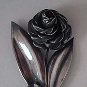 Signed CORO BROOCH - Sterling Flower & Bow - Vintage
