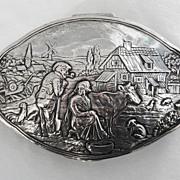 c1900, German Solid Silver Box by Sohnlein & Sohn - FARM SCENE