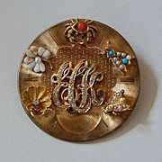 Antique WATCH DIAL Brooch / Pendant - Applied Charms / Gold / Gemstones