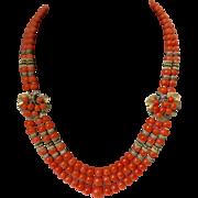 Rare Unsigned Miriam Haskell Genuine Salmon Coral Multi Strand Necklace