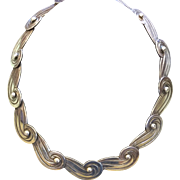 Pre Eagle Mexican Los Castillo 980 Sterling Silver Collar Necklace