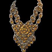1930's Czech Open Backed Faux Topaz Stone Festoon Necklace