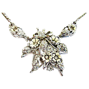 REDUCED Signed 1953 Hollycraft Enamel and Rhinestone Necklace