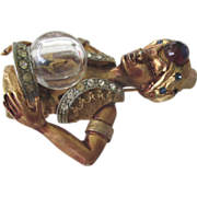 SALE Spellbinding Har Genie Brooch with Crystal Ball